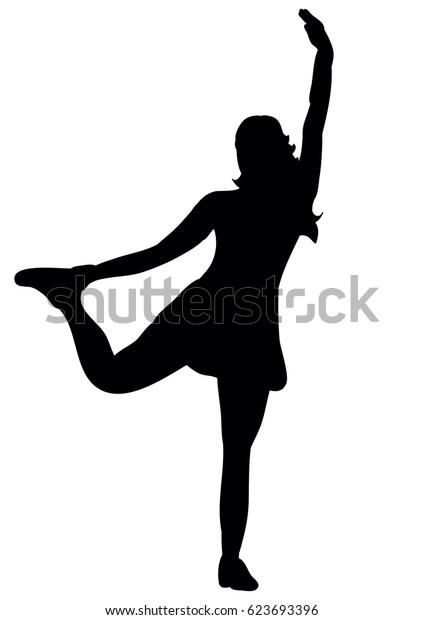 Girl dancing silhouette disco