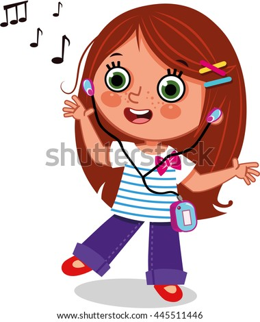 girl dancing while listening music clipart �����������