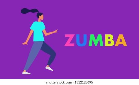 Girl dancing Zumba in fitness studio. Trendy flat style vector illustration. Woman aerobic fitness.
