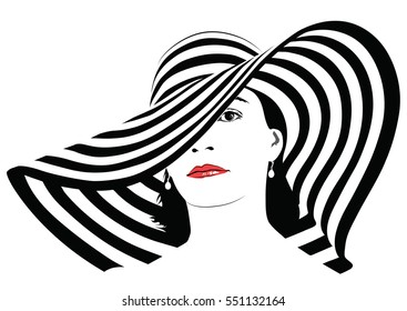 The girl with dark hair in big striped hat - vector illustration