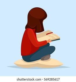 The girl with dark hair in a red jacket and blue jeans sitting on a cushion. She is reading a book. Education, hobbies, interests. Vector cartoon illustration.