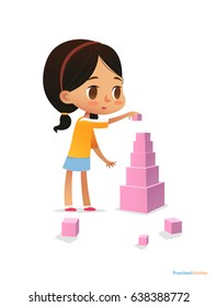 Girl with dark hair stands and builds tall pyramid using pink cubes. Child plays with bright colored blocks. Entertainment at kindergarten concept. Vector illustration for poster, banner, website.