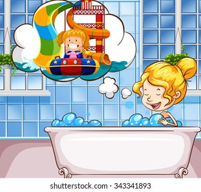 Girl daydreaming in the bathtub illustration