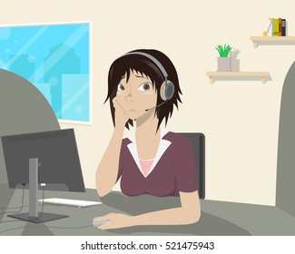 Girl decided to get a job and she does not like it. Vector illustration