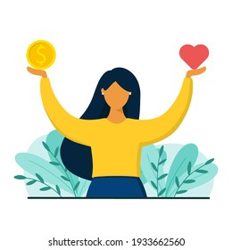 Girl decides between career and health. Work and life or health balance concept. Flat style vector illustration.