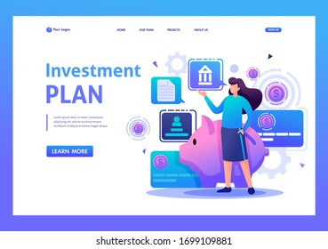 Girl demonstrates her investment plan, investment and profit growth. Flat 2D character. Landing page concepts and web design.