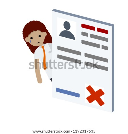 Girl Denied Job Vacancy Rejected Resume Stock Vector Royalty Free
