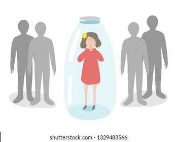 The girl is in a depressed mental state, standing in the bottle, feeling fear and anxiety from the outside world. The child's fear of the crowd or autistic spectrum disorder.