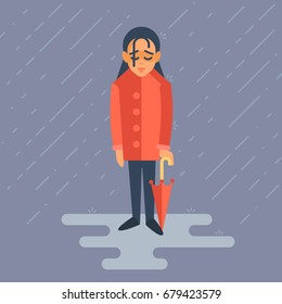 The girl is depressed. She is standing in the rain. Her face is very sad and her shoulders are lowered. She walks through puddles.