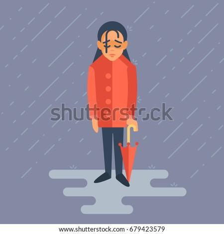 girl depressed she standing rain her stock vector royalty free
