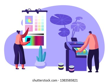 Girl Designer Choose Coloring Palette on Screen, Man Printing Ad on Multifunction Laser Printer. Working Process in Typography or Advertising Agency. Creative Team. Cartoon Flat Vector Illustration