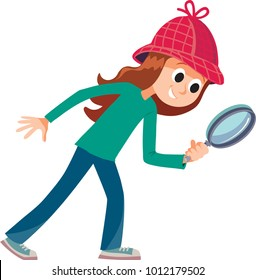 girl detective looks through her magnifier