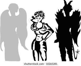 girl with devil and angel shadows illustration