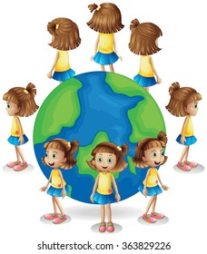Girl in different angle of the world illustration