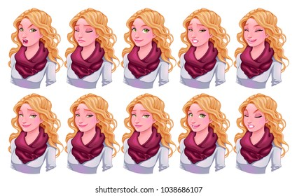 Girl with different expressions. Vector cartoon isolated characters.