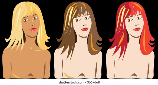 girl with different hair color