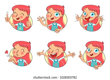 Girl in different situations. Emotions on face. Funny grimace, shows tongue, thumbs up, air kiss, sign of okay, hands up. Funny cartoon character. Vector illustration. Isolated on white background
