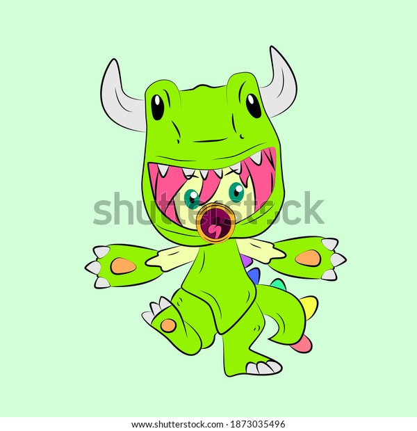 girl with dinosaur costume laughing and talk out loud, streetwear or t-shirt design