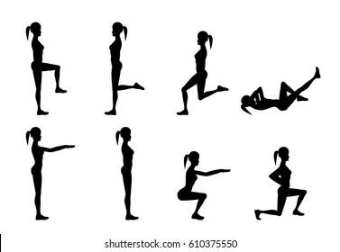 Girl Dioing Exercise on White Background Vector Illustration EPS10