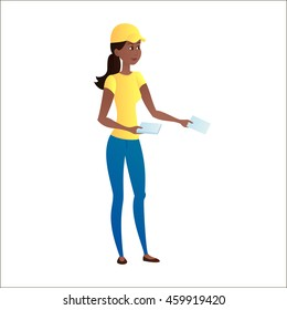 Girl distributes leaflets on a white background. Isolated from the background. Leafleting. Advertising campaign. Promoter, distributor. Vector illustration