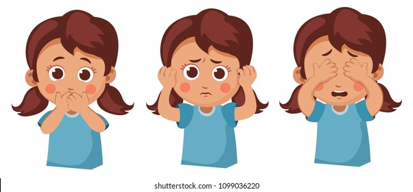 girl does not see, does not hear, does not speak. Problem with child communication set. psychology of children. problems in family. contact with the child