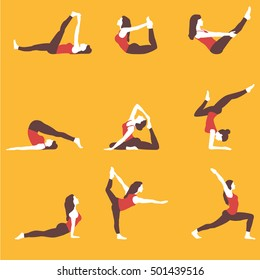 Girl does yoga exercises. Healthy lifestyle