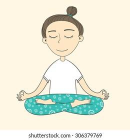 Girl does yoga exercises. Vector yoga illustration. Sketch with yoga asana. Healthy lifestyle. Siddhasana (Perfect Pose). Pranayama.