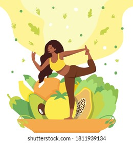 The girl does yoga on a plate with useful products. A fun illustration for the good habits tracker. Eat more healthy foods and do yoga. The concept of a healthy lifestyle.