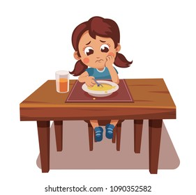 girl doesn't want to eat soup. not hungry, poor appetite, not tasty food. child refuses to eat. Full plate