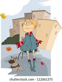 The girl and dog