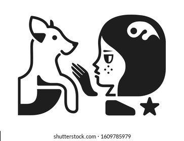 Girl with a dog black and white graphic sign. Vector icon illustration. Perfect as a graphics for a t-shirt.