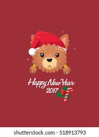 Girl Dog breed Yorkshire Terrier. In puppy wearing a red Christmas hat. Text: Happy New Year!