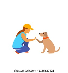 girl and dog greeting isolated vector graphic scene