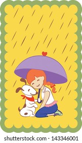 Girl with dog holding an umbrella. EPS 10