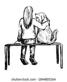 Girl with dog on a bench. Hand drawn vector contour illustration. Realistic retro graphic drawing isolated on white. Single black doodle element for design prints, poster, decor, typography, sticker.