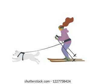 girl and dog skijoring, winter sports isolated vector illustration