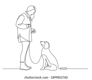 Girl and Dog Trendy Line Art Drawing. Couple Walking Minimalistic Black Lines Drawing on White Background. Continuous One Line Abstract Drawing. Modern Scandinavian Design. Vector EPS 10