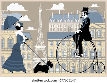 Girl with dog and umbrella, and a gentleman on a bicycle on Paris background.. Handmade drawing vector illustration. Vintage style