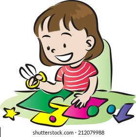 Boy Doing Art Craft Stock Vector Royalty Free 212079991 Shutterstock
