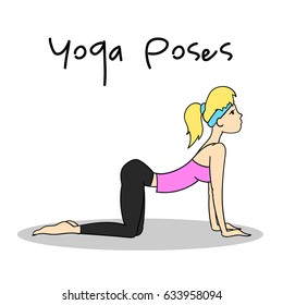 Girl doing Cat Cow pose. Yoga pose for energy. Vector illustration.
