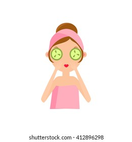 Girl Doing Cucumber Mask Portrait Flat Cartoon Simple Illustration In Sweet Gitly Style Isolated On White Background
