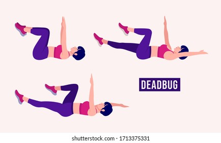 Girl doing Dead bug exercise set of 3, Woman workout fitness, aerobic and exercises. Vector Illustration.