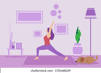 Girl doing exercise at home in a living room on a yoga mat. Sporty female model exercising, yoga at home. Keep calm during quarantine concept vector illustration. Dog sleeping on the floor