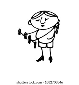 Girl doing exercises with dumbbells. Hand-drawn funny character. Doodle illustration