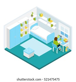 Girl doing homework in her private room isometric template with blue white furniture and carpet vector illustration