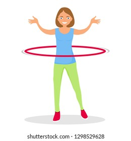 Girl Doing Hula hoop, Kid Practicing Different Sports And Physical Activities. Sport girl make fitness exercises with hula hoop. Healthy lifestyle.