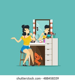 Girl doing make up at the mirror. Vector illustration.