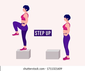 Girl doing Step Up exercise, Woman workout fitness, aerobic and exercises. Vector Illustration.