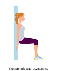 Girl doing wall sit ups exercise. Vector illustration