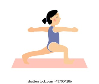 Girl doing yoga. Asana baby yoga. Kids yoga vector. Colored mats for yoga. Yoga for women. Happy and healthy people. The fun of sports and yoga